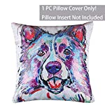 """EVERMARKET Mermaid Throw Pillow Cover,Magic Reversible Sequin Pillow Case, Cute Pet Pattern Throw Cushion Pillow Case Decorative Pillow That Change Color 16""""X16""""inch,Border Collie Dog 7"""