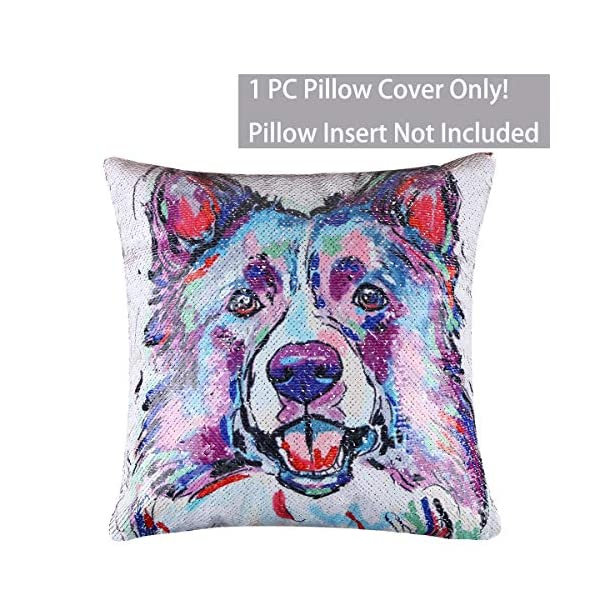 """EVERMARKET Mermaid Throw Pillow Cover,Magic Reversible Sequin Pillow Case, Cute Pet Pattern Throw Cushion Pillow Case Decorative Pillow That Change Color 16""""X16""""inch,Border Collie Dog 2"""