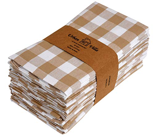 Multi Buffalo Soft - Urban Villa Dinner Napkins, Everyday Use, Premium Quality,100% Cotton, Set of 12, Size 20X20 Inch, Taupe/White Oversized Cloth Napkins with Mitered Corners, Ultra Soft, Durable Hotel Quality