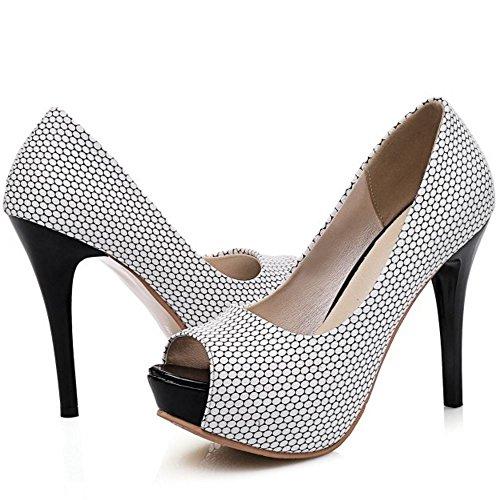 TAOFFEN Women Classic Party Peep Toe Slip On Wedding Platform High Heel Sandals Black OtokCDq