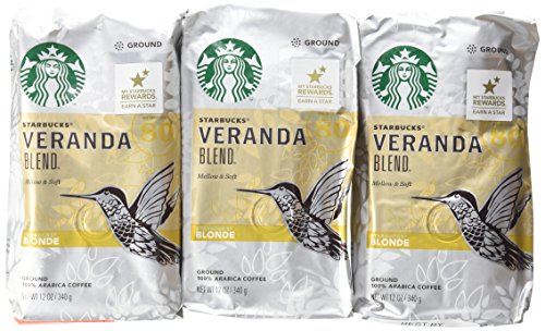 Starbucks, Blonde Roast, Veranda Mixture, 12oz Bag (Pack of 3)