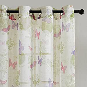 Top Finel Fantastic Butterfly Window Treatments Sheers Curtains Panels For  Kids Girls Room Bedroom 54 X