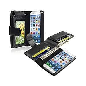 Leather Case for Apple iPhone 6 4.7-inch Black Cash Holder Wallet Cover Flip Luxury Credit Card Carry All