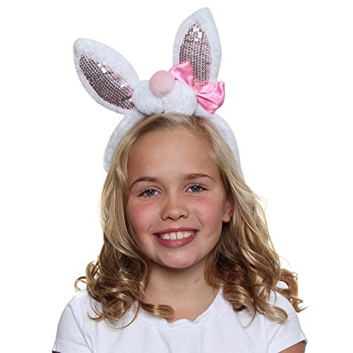 Making Believe Girls Sequin Easter Bunny Ears and Bow Headband -