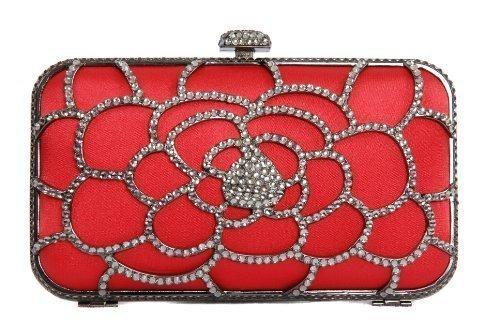 Berg par satin minaudière coffret rouge à Olga sac pod pochette monture couvert diamant main sac de en style wrwfqSZ