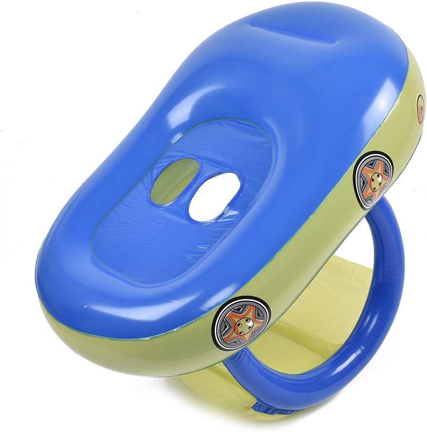 Earlyad Beb/é Piscina Flotador Asiento Barco Inflable Anillos de nataci/ón Forma de Coche Juguetes de Piscina con sombrilla y Bomba de Aire Safty por 0-3 a/ños