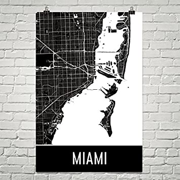 Miami poster miami art print miami wall art miami map miami city