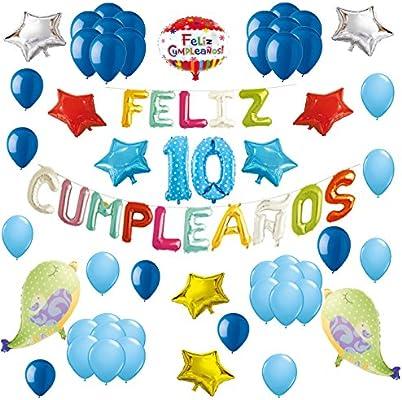 COTIGO-Globos Feliz Cumpleaños Happy Birthday Fiesta Party Docoración para Niños 108 Piezas Globo Látex Azul Color Azul Años 10