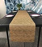 OSVINO Stylish Rectangular Multi-Color Bamboo Braided Stain Resistant Hotel Home Kitchen Dining Table Runner Mat, Brown, 1xTable Runner