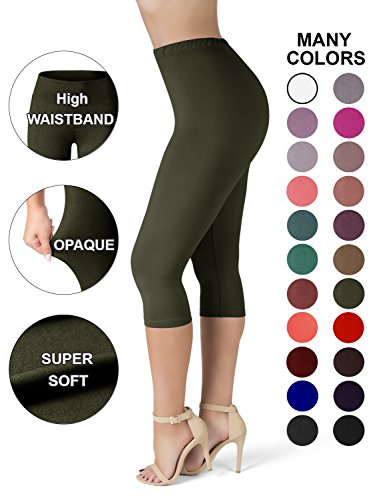 - SATINA High Waisted Ultra Soft Capris Leggings - 20 Colors - Reg & Plus Size (Plus Size, Olive)