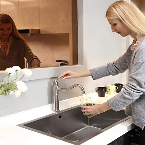 Kitchen Faucet - Stainless Steel Kitchen Sink Faucet in Industrial Design, Single Handle 1 or 3-Hole Installation, Solid 304 Stainless Steel Construction, High Arc 360°Rotatable Spout, Brushed Nickel ()