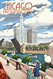 Lantern Press Chicago, Illinois - River View (9x12 Art Print, Wall Decor Travel Poster)