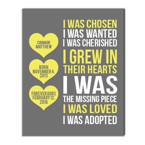 Adoption Paper Art Print | Adoption Gift | Gotcha Gift | Gotcha Day | Adoptive Parents Gift |Gotcha Day - Adoption Gift Personalized Art Child Keepsake Gift Boys Girls Adopt Adopted Present by Canary Road