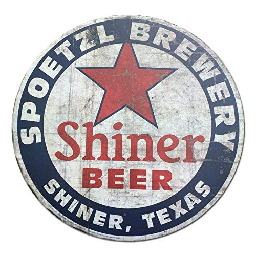 Shiner Beer Shiner Texas Vintage Style Round Tin Sign Metal Sign Metal Decor Wall Sign Wall Poster Wall Decor Door Plaque TIN Sign 7.8X11.8 INCH