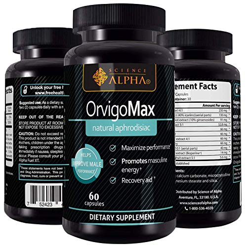 All Natural Testosterone Booster Orvigo Max by Science of Alpha – Powerful Aphrodisiac that Naturally Increases Libido, Sexual Health and Energy with Scientifically Proven Ingredients – 60 Capsules