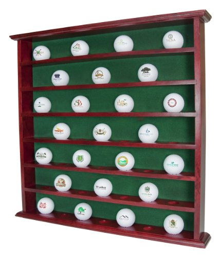 Golf, Gifts and Gallery Mahogany Golf Ball Display Cabinet - 49 - Display Golf Glass Case Ball