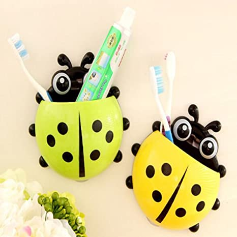 Amazon.com: Windspeed Cute Ladybug Tooth Brush Toothpaste Holder Wall Hanger with Suction Cup (Blue): Home & Kitchen