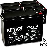 Exide 6V10K 12V 10Ah / REAL 10.0 Amp SLA Sealed Lead Acid AMG Rechargeable Replacement Battery Genuine KEYKO (W/F2 Terminal) - 6 Pack