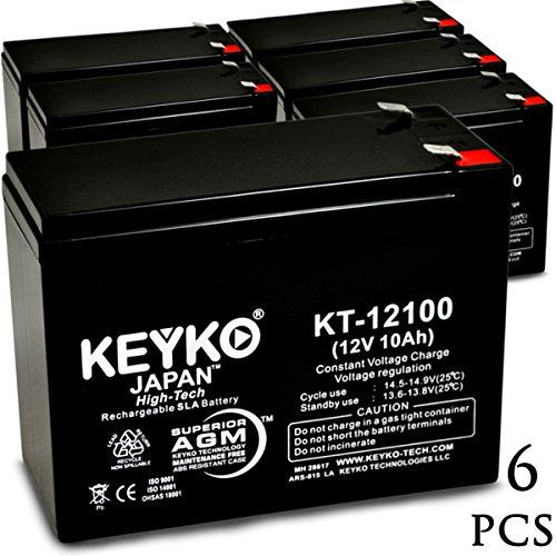 Exide 6V10K 12V 10Ah / REAL 10.0 Amp SLA Sealed Lead Acid AMG Rechargeable Replacement Battery Genuine KEYKO (W/F2 Terminal) - 6 Pack by KEYKO