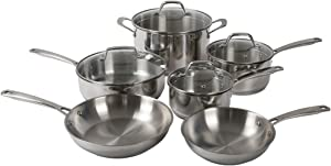 Othello 10-Piece Tri-ply Stainless Steel Cookware Set - Induction Compatible Pots + Pans - Oven & Dishwasher Safe