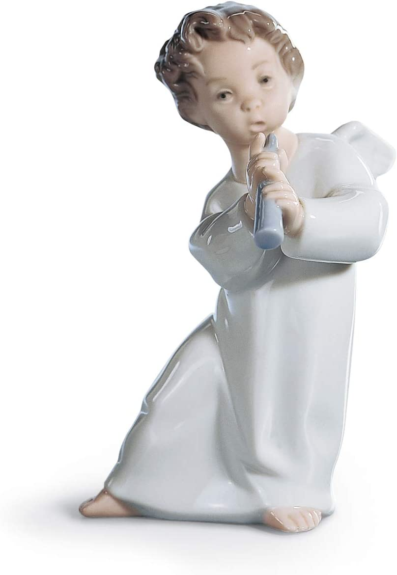 LLADR Angel with Flute Figurine. Porcelain Angel Figure.