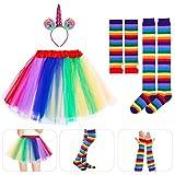 Amosfun Unicorn Cosplay Set Rainbow Tutu Skirt with Headband Arm Warmer Leg Stocking for Adult Halloween Carnival Party