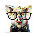 Bangle009 Big Promotion Colorful Oil Painting Canvas Cute Pig Wall Art Frameless Home Bar Decoration
