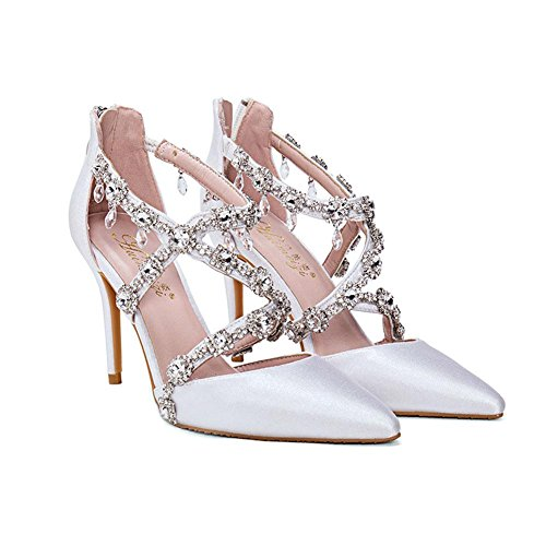 L@YC® Mujeres TacóN alto Sandalias Cristal Banquete Multa Con La Bomba Vestido De Confort Puntiagudo White