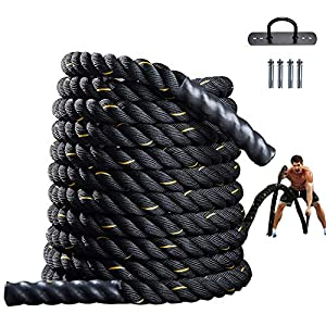 Well-Being-Matters 517MMfyJwyL._SS300_ Battle Rope for Fitness Gym Exercise Training Rope 1.5Inch 30Ft Heavy Workout Rope with Anchor Strap Kit for Strength…