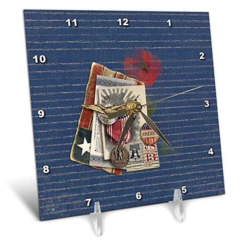 3dRose Beverly Turner Patriotic Design - Gold Eagle, Metal, Savings Bond, Button, and 13 Cent Stamp Look, USA - 6x6 Desk Clock (dc_287050_1) ()
