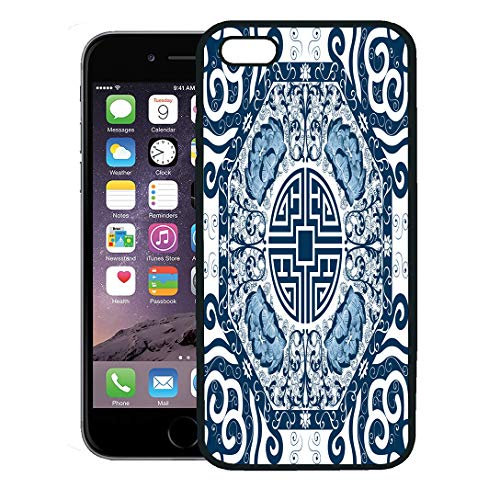 (Semtomn Phone Case for iPhone 8 Plus case,Blue Pattern Chinese Peony China Pottery Lotus Porcelain Abstract iPhone 7 Plus case Cover,Black)