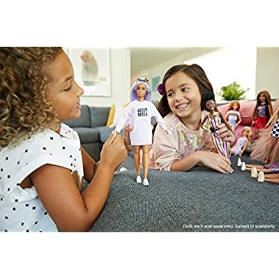 Barbie Fashionistas Doll with Long Rainbow Hair Wearing Sweatshirt Dress and Accessories, for 3 to 8 Year Olds: Toys & Games