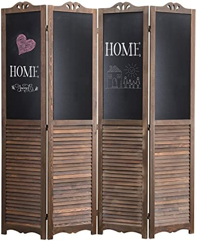MyGift 4-Panel Rustic Wood Louvered Room Divider with Chalkboard Panels Two-Way Hinges