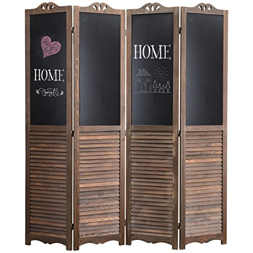 - MyGift 4-Panel Rustic Wood Louvered Room Divider with Chalkboard Panels & Two-Way Hinges