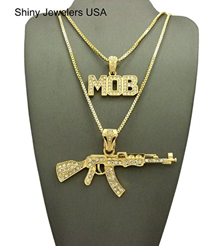 1d0b2243c1101e MENS ICED OUT MACHINE GUN AK 47 CHOPPER THUG LIFE MOB PENDANT CHAIN NECKLACE  SET (AK47 Chopper Mob Necklace set) - Buy Online in UAE. | Jewelry Products  in ...