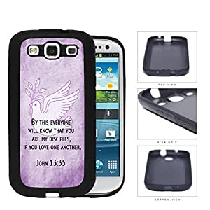 John 13:35 Religious Bible Verse on PURPLE Grunge & White Dove [Samsung Galaxy S3 I9300] Rubber Silicone TPU Cell Phone Case by lolosakes