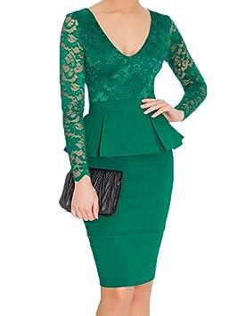 Vestido verde corto manga larga