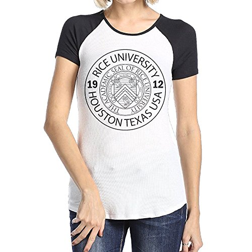 Women's Rice University EST. 1912 Houston Texas United States O Neck Short Sleeve Raglan Baseball Tee Shirt -