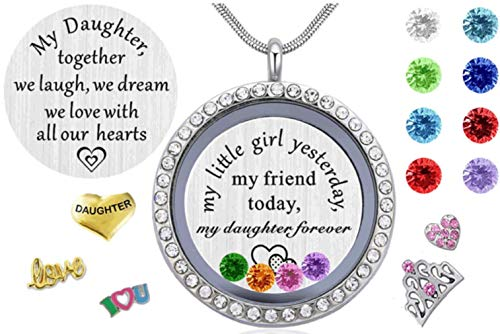 Beffy Gifts for Daughter from Mom Dad, Living Memory Floating Locket Pendant Necklace with Charms & Birthstones for Mother Mama Mammy Daddy's Little -