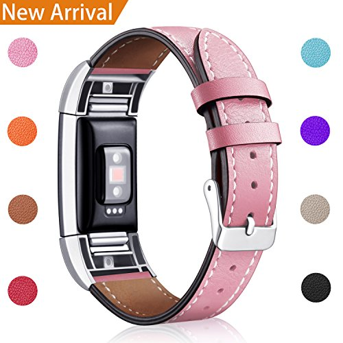 Design Genuine Leather (For Fitbit Charge 2 Replacement Bands, Hotodeal Classic Genuine Leather Wristband With Metal Connectors, Fitness Strap for Charge 2, Pink)