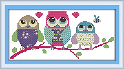 eGoodn Stamped Cross Stitch Kits With Printed Pattern - Cartoon Owl, 18.9 x 9.45 11CT Aida Fabric For Embroidery Art Cross-Stitching Lovers