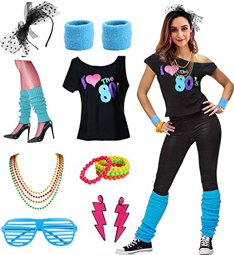 esrtyeryh Women Costume Womens I Love The 80's Disco 80s Costume Outfit Accessories, Blue, M/L