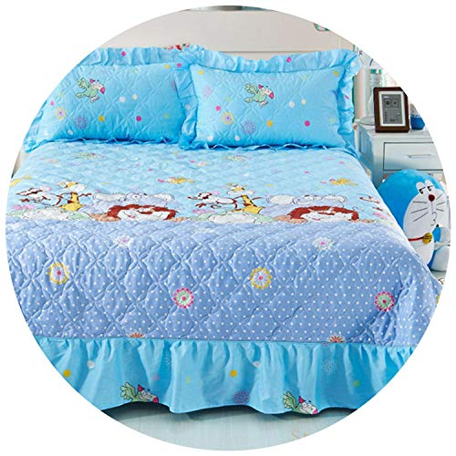 Youth-Song Home Textile Bedspread Winter Quilted Bedspread Ruffles case 100% Cotton Quilted bedskirt Luxury Flower American Bed Cover,Lion Bedding,Queen
