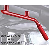 Automotive : Xprite 2007 - 2016 Jeep Wrangler JK Rear (Back) Red Hard Mount Solid Steel Grab Handle (One Pair)