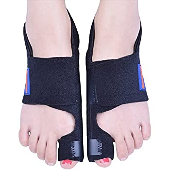 Bunion Corrector by Quanquer [Pair] - Bunion Splint Toe Straightener Brace for Hallux Valgus Pain Relief Fits Men & Women (Black)
