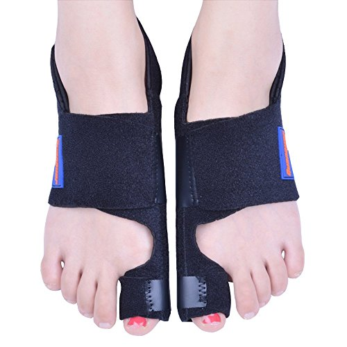 - Bunion Corrector by Quanquer [Pair] - Bunion Splint Toe Straightener Brace for Hallux Valgus Pain Relief Fits Men & Women (Black)