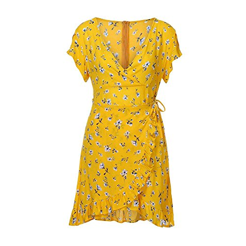 de Tunique V Plage Imprim Robe 02 Chemise Floral Mini Party Dress Sexy de Soiree Robe jaune Sundress Cocktail Boho Col Robe LEvifun Prom Robe Femme Ete Chic Robe Vintage WUzqnZF