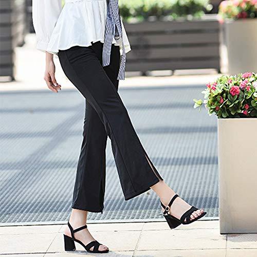 Un Ante Zapatos De Tacón Sandalias Sandalias Cierre Solo Black Botón Gruesas Cruz Medio Moda 1PdYd6q