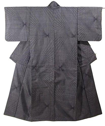リサイクル 着物 大島紬 一元式5マルキ 抽象模様 正絹 袷 裄62cm 身丈156cm