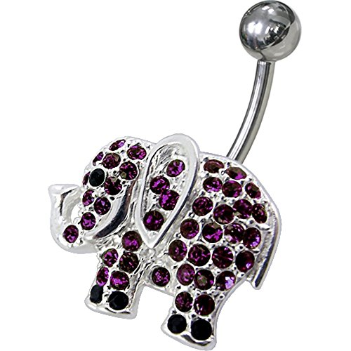 Purple Crystal Stone Fancy Multi Crystal Fancy Elephants 925 Sterling Silver with Stainless Steel Belly Button Navel Rings